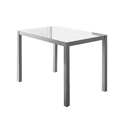 MOMMA HOME Mesa de Comedor - Modelo Melbourne - Color Blanco/Plata - Material Cristal Templado/Metal - Medidas 110 x 70 x 75 cm