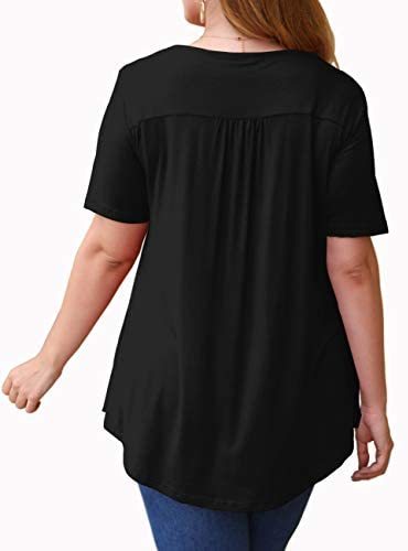 U.Vomade Womens Summer Tops V Neck Buttons Pleated Flared Plus Size Blouses M-4X