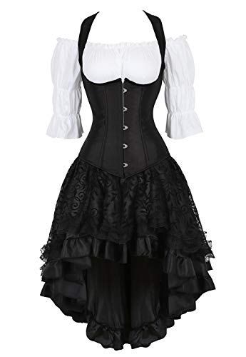 Steampunk Corset Dress for Women Off Shoulder Blouse Corset Top with Gothic Skirt 3 Piece Outfits S -