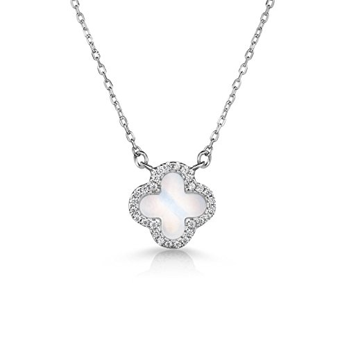 Unique Royal Jewelry Sterling Silver Mother of Pearl and Cubic Zirconia Four Leaf Clover Necklace with Adjustable Length. (Natural ()