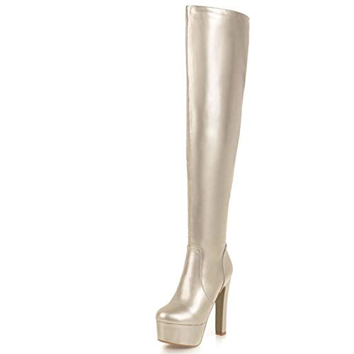 ODOKAY Woman Autumn/Spring Gold Silver Stiletto Boots Sexy Women's Boots Patent Leather Thin High Heels Shoes