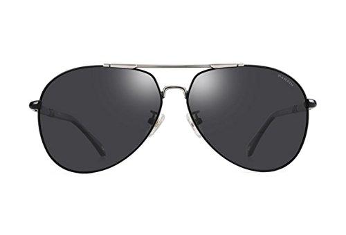 De Gafas De Black Hombres NHDZ Espejo Gafas Película Plata De Polarización Circular Color Reflectante Frame Moda Black De Gray Enmarcado tvWntqRw1
