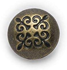 RTYW 縫製ハンドバッグ帽子シャツセーター服ソックススカーフ手仕事装飾さ10mmのためのレトロなパターン小さな金属製のボタン (Color : Bronze)