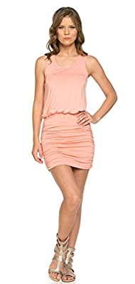 LaClef Women's Mini Ruched Tank Shift Dress