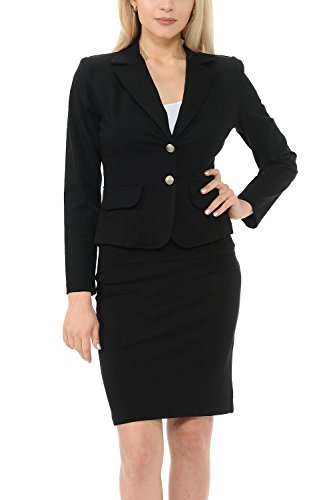 Sweethabit Cyber Monday Sale Women's Classic Slim Fit Blazer and Skirt Suit Set - Made In USA(3017) (3X Plus, - Monday Black Usa
