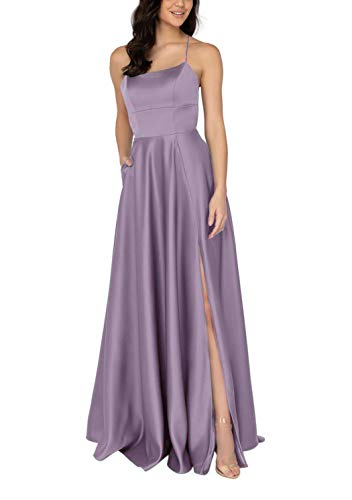 (YMSHA Women's Spaghetti Straps Satin Prom Dresses with Split Long Evening Party Gown Mauve)