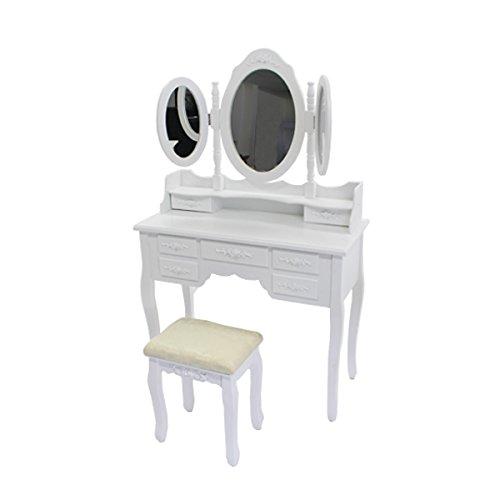 ドレッサー 化粧台 三面鏡 椅子付 取り外し可能 セット