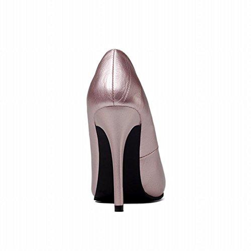 MissSaSa Damen simpel high heel geschlossen Pointed Toe Pumps Pink-Gold