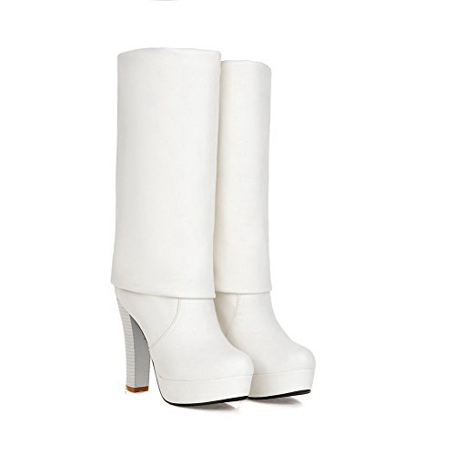 AgooLar Women's High Top Pull On High-Heels Round Closed Toe Boots White sTE2WFE