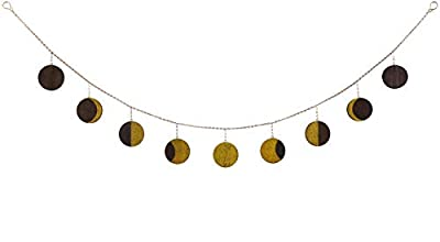 Mkono Moon Phase Garland with Chains Moon Cycle Wall Hanging Boho Chic Bohemian Wall Decor Apartment Dorm Office Nursery Living Room Bedroom