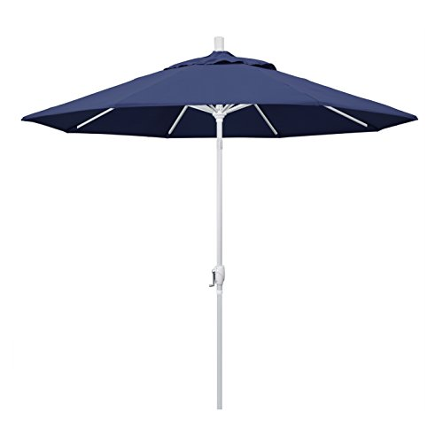 California Umbrella 9 Round Aluminum Market Umbrella, Crank Lift, Push Button Tilt, White Pole, Navy Blue Olefin