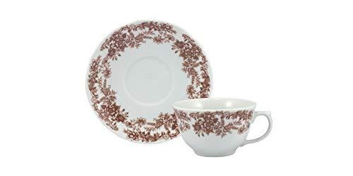 Estojo com 6 xícaras de chá com pires. Modelo redondo izabel. Decoração paisagem marrom. Porcelana real by porcelana schmidt.