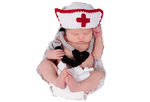 Newborn Baby Girl/Boy Crochet Knit Costume Photography Prop Hats and Outfits (Doctor/Nurse)