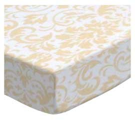 SheetWorld Fitted Cradle Sheet - Cream Damask - Made In USA by SHEETWORLD.COM