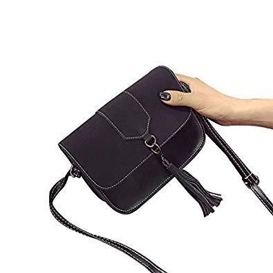 Bloomerang Fashion Women PU Leather Messenger Bag Handbag Retro Cross Body Tassel Shoulder Bag BS88 color Black