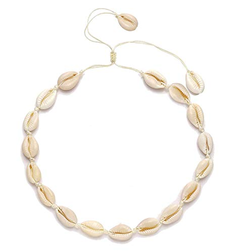 - YINL Shell Necklace for Women - Natural Shell Choker Beads Handmade Adjustable Hawaii Cowries Shell Chokers Necklace Beach Jewelry for Men Girls Summer