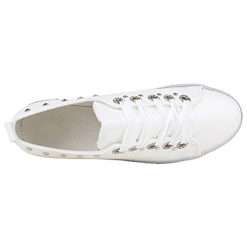 Flandell Rosa Strass Sneaker Plateau Metallic Damen Stiefelparadies 1paqII