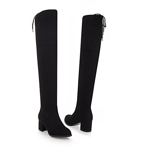 wetkiss Shoes Boots The Square Women Black Heels Stretch Over Knee Winter high Flock Solid Round Toe Fashion Ladies Boots Thigh rf0qw14rU