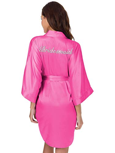 (SIORO Bridesmaids Slik Robes Personalized Womens Satin Bathrobe Wedding Party,Ladies Kimono Loungewear,Hot Pink L)