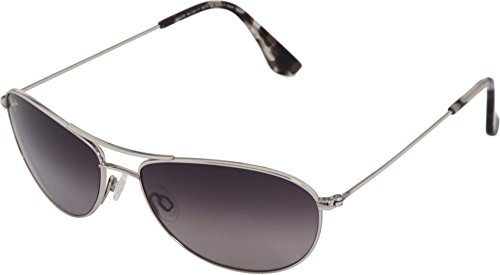 Maui Jim Baby Beach  Aviator Sunglasses, Silver Frame/Neutral Grey Lens, One - Jim Beach Sunglasses Baby Maui Silver