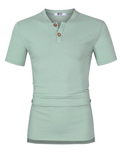 MrWonder Men's Casual Linen and Cotton V Neck Short Sleeve Henley T-Shirts (S, Light Green)