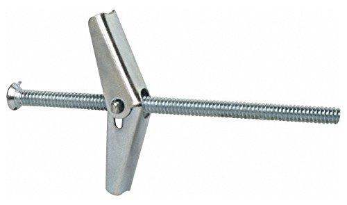 3/16'' Screw, 3/16'' Diam, 4'' Long, Toggle Bolt Drywall & Hollow Wall Anchor 1/2'' Drill, Zinc Plated, Steel, Grade Zamac 7, Use in Drywall & Wallboard