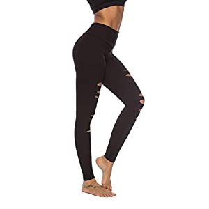 DIBAOLONG Womens High Waist Yoga Pants Cutout Ripped Tummy Control Workout Running Yoga Skinny Leggings