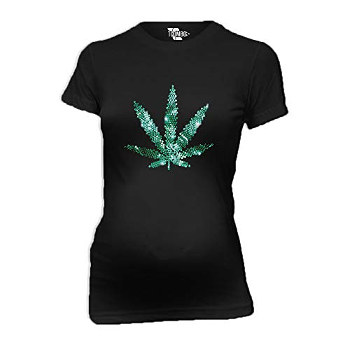 Marijuana Leaf Rhinestone Women's Maternity T-Shirt (Black, X-Large) ()