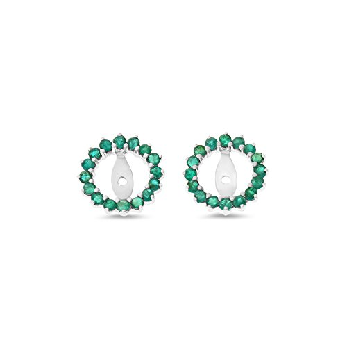 0.70CTW 14K White Gold Genuine Natural Emerald Round Shaped Earrings Jacket by Rendez Vous Jewelry