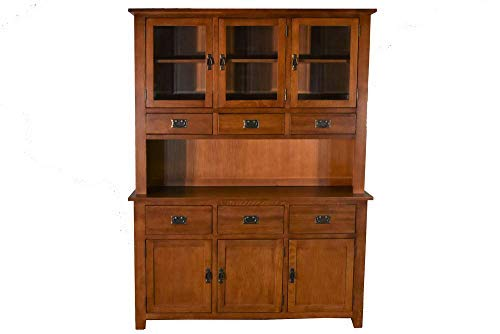 Mission Dining Hutch - Mission Quarter Sawn Oak China Cabinet, Hutch