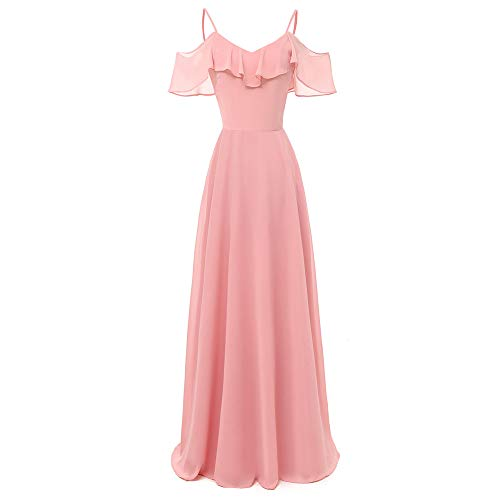 DEATU Long Dress Women Vintage Princess Elegance Cocktail V-Neck Ladies Party Swing Sleeveless Long Dress(Pink,L)]()