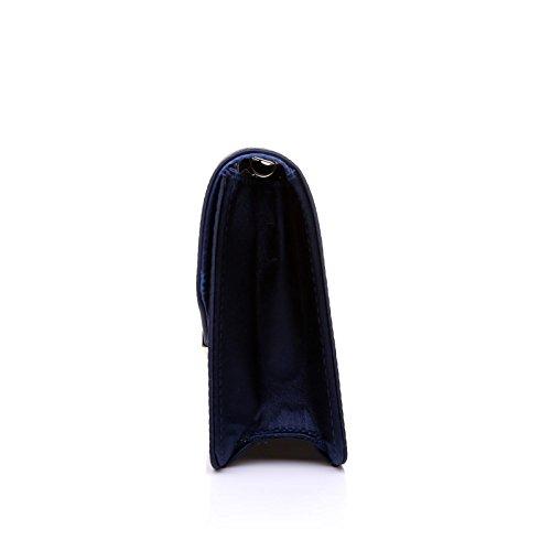 Satin Navy Clutch Medium Bag LUCKY Size 5qwCI5d