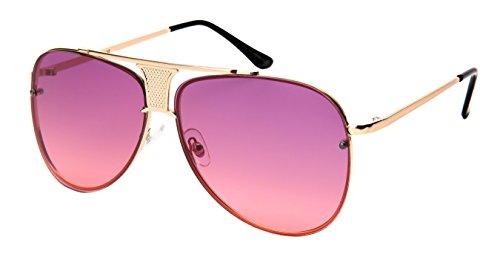 Edge I-Wear Unisex Modern Aviators w/Flat Ocean Lens - Haute Sunglasses Couture