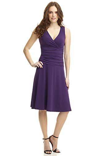 Aubergine Dinner (REKUCCI Women's Slimming Sleeveless Fit-and-Flare Tummy Control Dress (8,Aubergine))