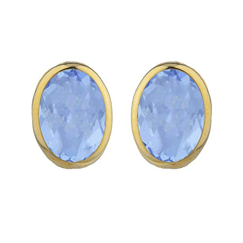 Blue Topaz Oval Bezel Stud Earrings 14Kt Yellow Gold Rose Gold Silver