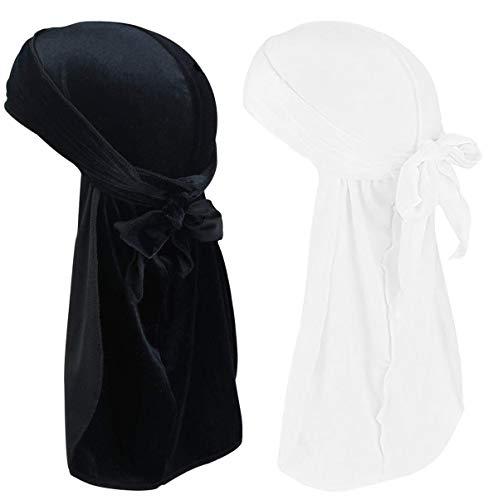 Velvet Durags for Men Waves 2/4 Pair Extra Long-Tail Du-rag Multiple Colors Headwraps (Durag Velevt-Black+White,2 Pair, One Size Fit Most)