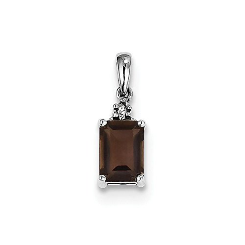 Jewelry Best Seller Sterling Silver Rhodium Smoky Quartz & Diamond Pendant (Box Silver Smoky Quartz Jewelry)