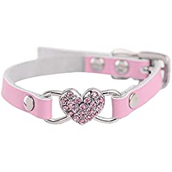 Dog Collars,MaxFox Adjustable Rhinestone Pet Collar Peach Heart Collars Neck Strap Puppy Necklace with Buckle for Dog (S, Pink)