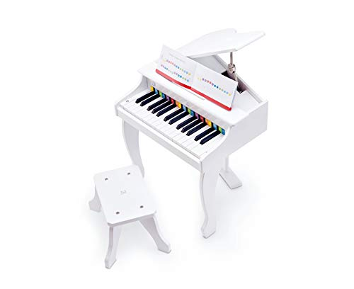 Hape Deluxe White Grand Piano | Thirty Key Piano Toy with Stool, Electronic Keyboard Musical Toy Set for Kids 3 Years+ by Hape (Image #1)