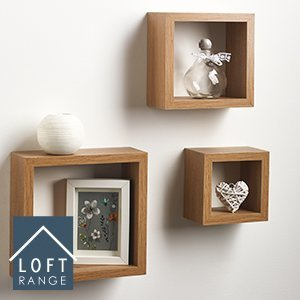 Amazing New Large Modern Style Set of 3 Cube Wall Mounted Floating Shelves Display\Storage (Oak) home storage