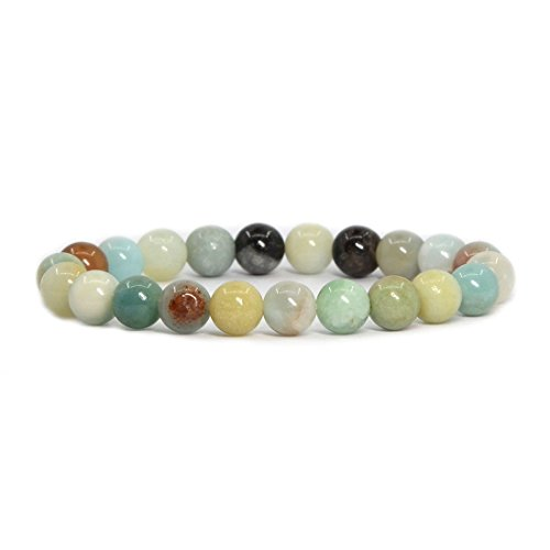 Gemstone Multi Colored Bracelet (jennysun2010 Handmade Natural Multi-Colored Amazonite Gemstone Smooth Round Loose Beads 8mm Stretchy Bracelet Healing  7'' Inches Wrist ( 23pcs Beads in the Bracelet ))