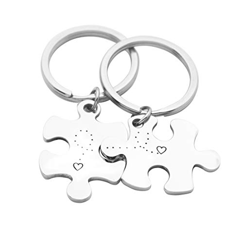 Eilygen Puzzle Piece Couple Keychains You are My Missing Piece You Fit Me Perfectly Keyring Set (Heart to Heart)