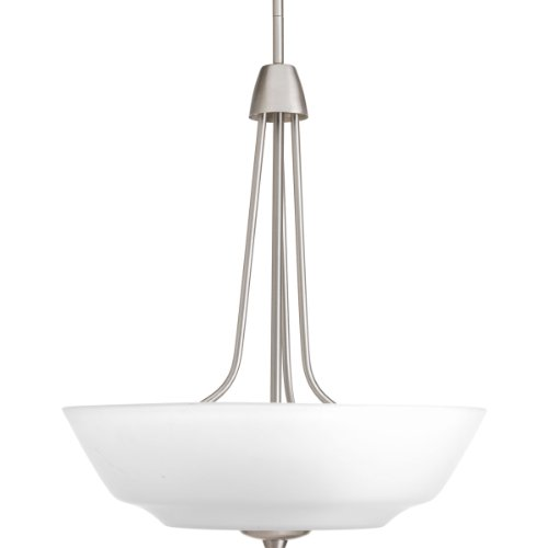 Progress Lighting P3949-09WB 3-Light Inverted Pendant with Bulb Etched Glass Bowl by Progress Lighting