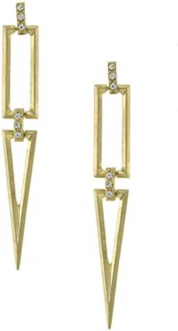 TRENDY FASHION JEWELRY TRENDSETTER PAVE LINK ACCENTED CUTOUT GEO DROP EARRING BY FASHION DESTINATION