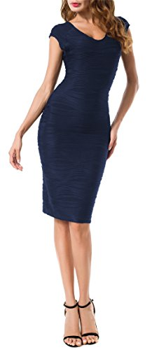 Solatin Women's Classic V Neck Shirring Waist Bodycon Dress(L,Navy Blue) (Dresses For Women Blue Cocktail)
