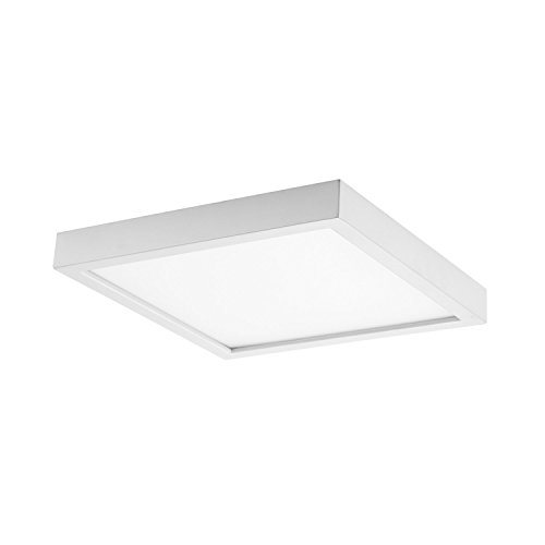 GetInLight Square 8-inch Dimmable Flush Mount Ceiling Fixture, 14 Watt, White Finish, 3000K Soft White, 80W Replacement, Damp Location Rated, ETL Listed, IN-0313-2-WH