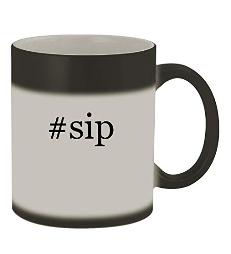 #sip - 11oz Color Changing Hashtag Sturdy Ceramic Coffee Cup Mug, Matte Black