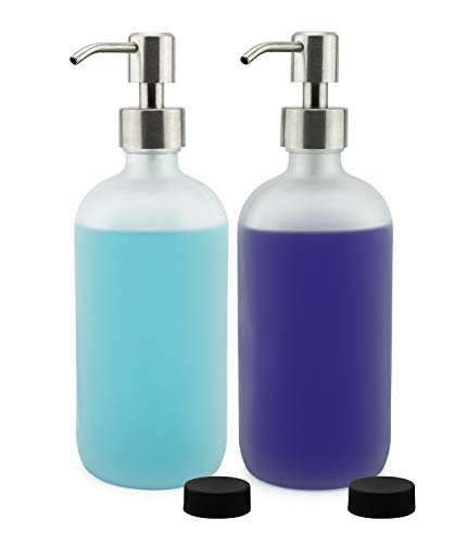 - Cornucopia Brands Frosted Glass Soap Dispenser w/Stainless Steel Pumps (White Frosted, 16-Ounce, 2-Pack); Boston Round Bottles w/Lotion Pump Tops and Caps