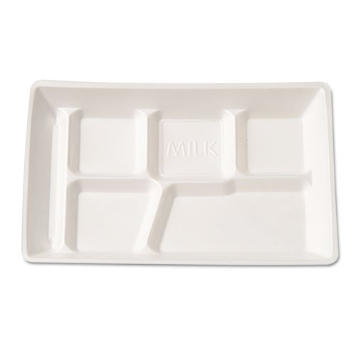 GNP10600WH Foam School Tray, 6 Compartment, 12-1/2 x 8-1/2 x 1, White, 125/Bag