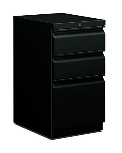 HON 33720RP 19-7/8-Inch Efficiencies Mobile Pedestal File with 1 File and 2 Box Drawers, Black by HON